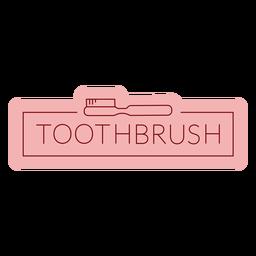 Etiqueta de baño cepillo de dientes plano