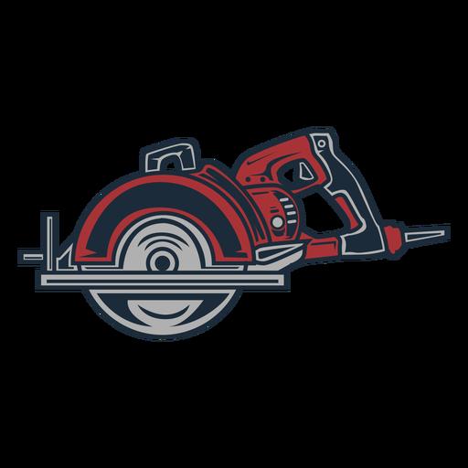 Icono circular de sierra eléctrica de leñador