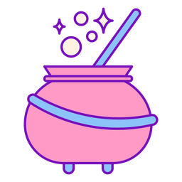 Magician colored cauldron stroke