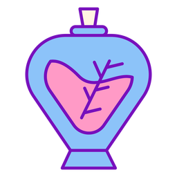 Magician colored potion bottle stroke