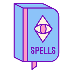Magician colored spell book flat