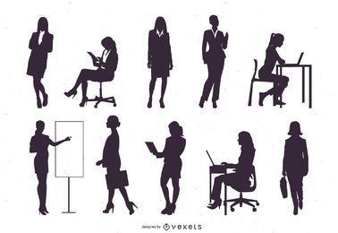 Conjunto de silueta de mujer de negocios