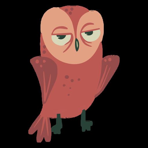 Owl brown eyes half open flat Transparent PNG