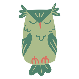 Owl green eyes closed flat