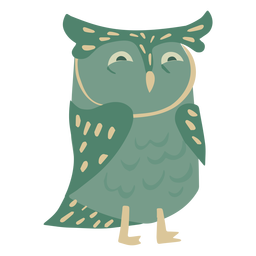 Owl green eyes half open flat