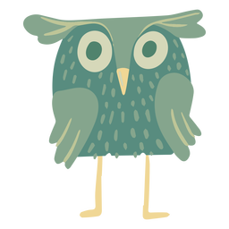 Owl green eyes wide flat
