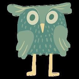 Owl green eyes wide flat