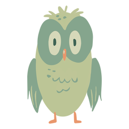 Owl green eyes wide sitting flat