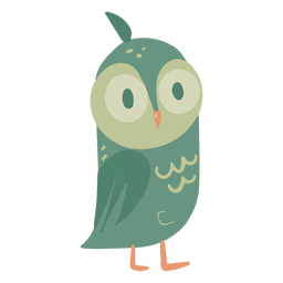 Owl green eyes wide small flat