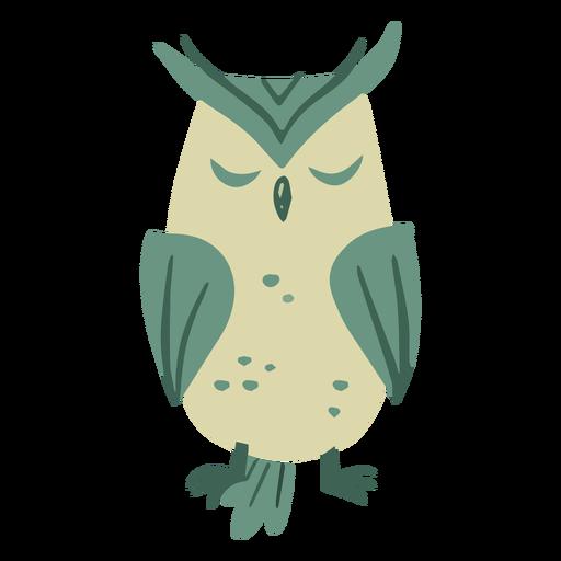 Owl green sleeping quietly flat