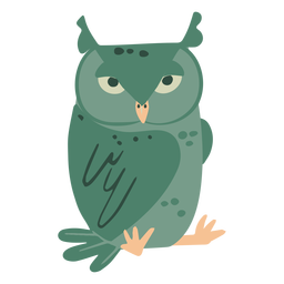Owl green staring flat