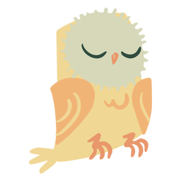 Owl yellow eyes closed flat