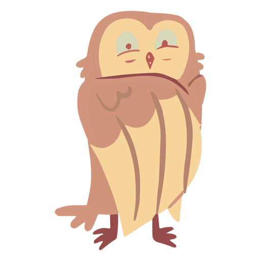 Owl yellow eyes half open flat Transparent PNG