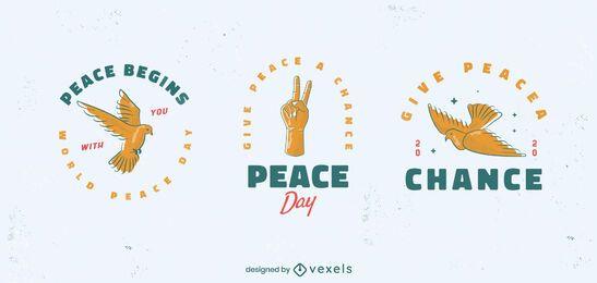 conjunto de emblemas do dia da paz