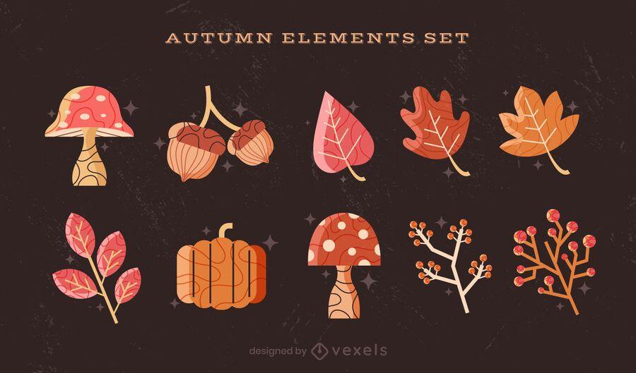 conjunto de coleta de elementos de outono