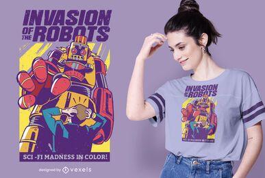 diseño de camiseta de invasión de robots