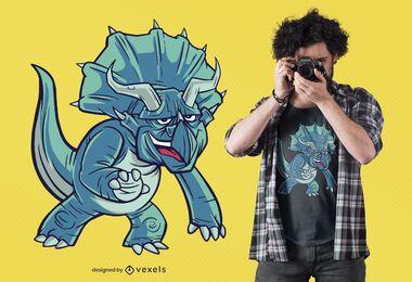 diseño de camiseta de dinosaurio triceratops
