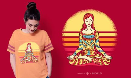 Design de camiseta feminina mandala