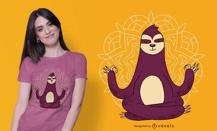 Diseño de camiseta de pereza de meditación