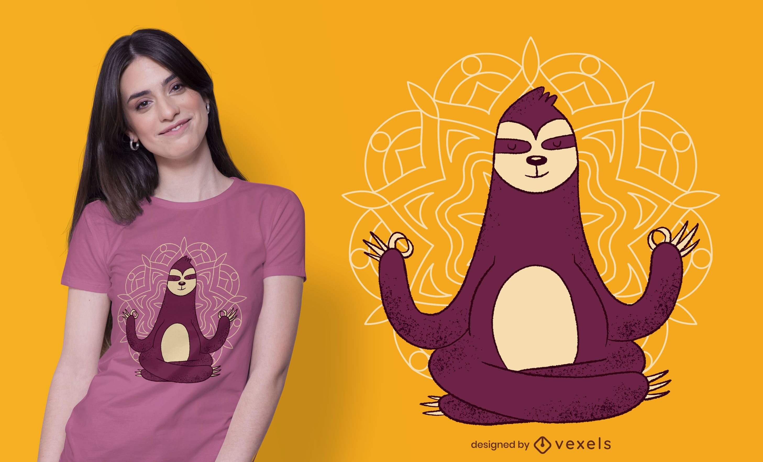 Diseño de camiseta Meditation Sloth