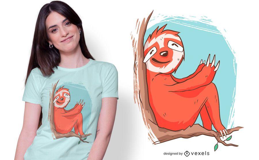 preguiça bonito sentado design de t-shirt