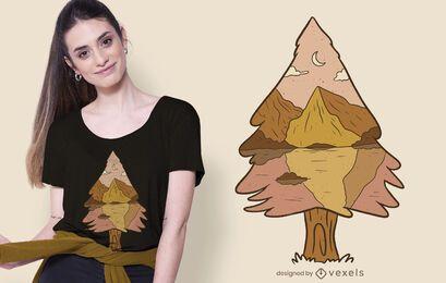 Design de camiseta de paisagem de árvore