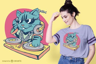 Cool Cat DJ T-shirt Design
