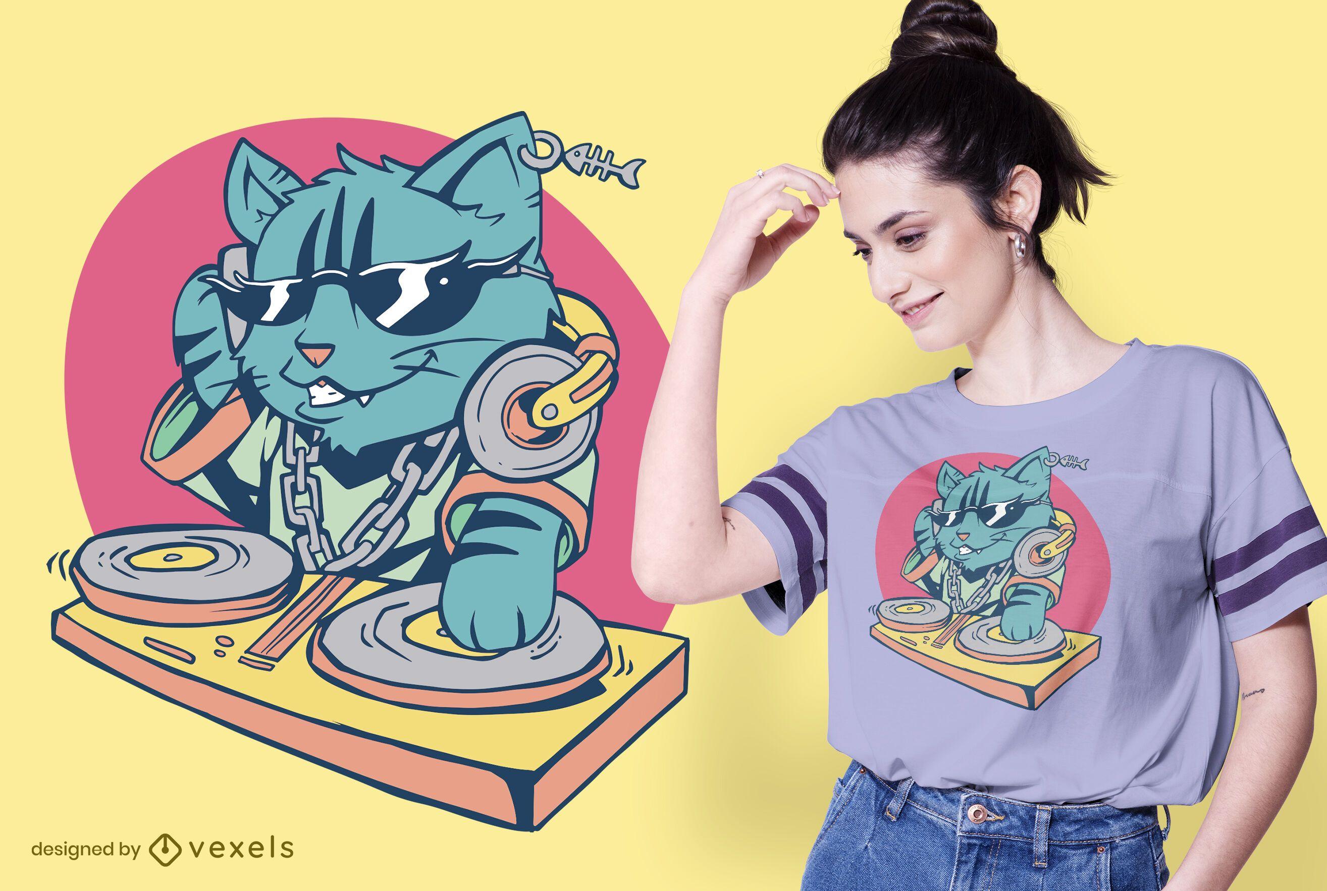 Design legal de camisetas para DJs de gatos