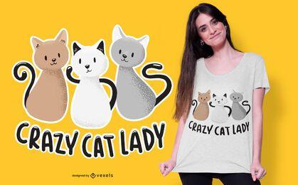 diseño de camiseta de mujer loca gato