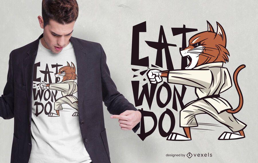 Projeto do t-shirt do gato de Taekwondo