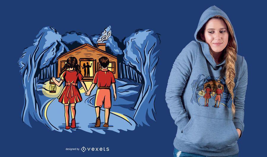Crianças no Design de t-shirt da floresta