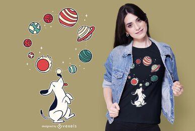 Projeto de t-shirt do cão de malabarismo do planeta
