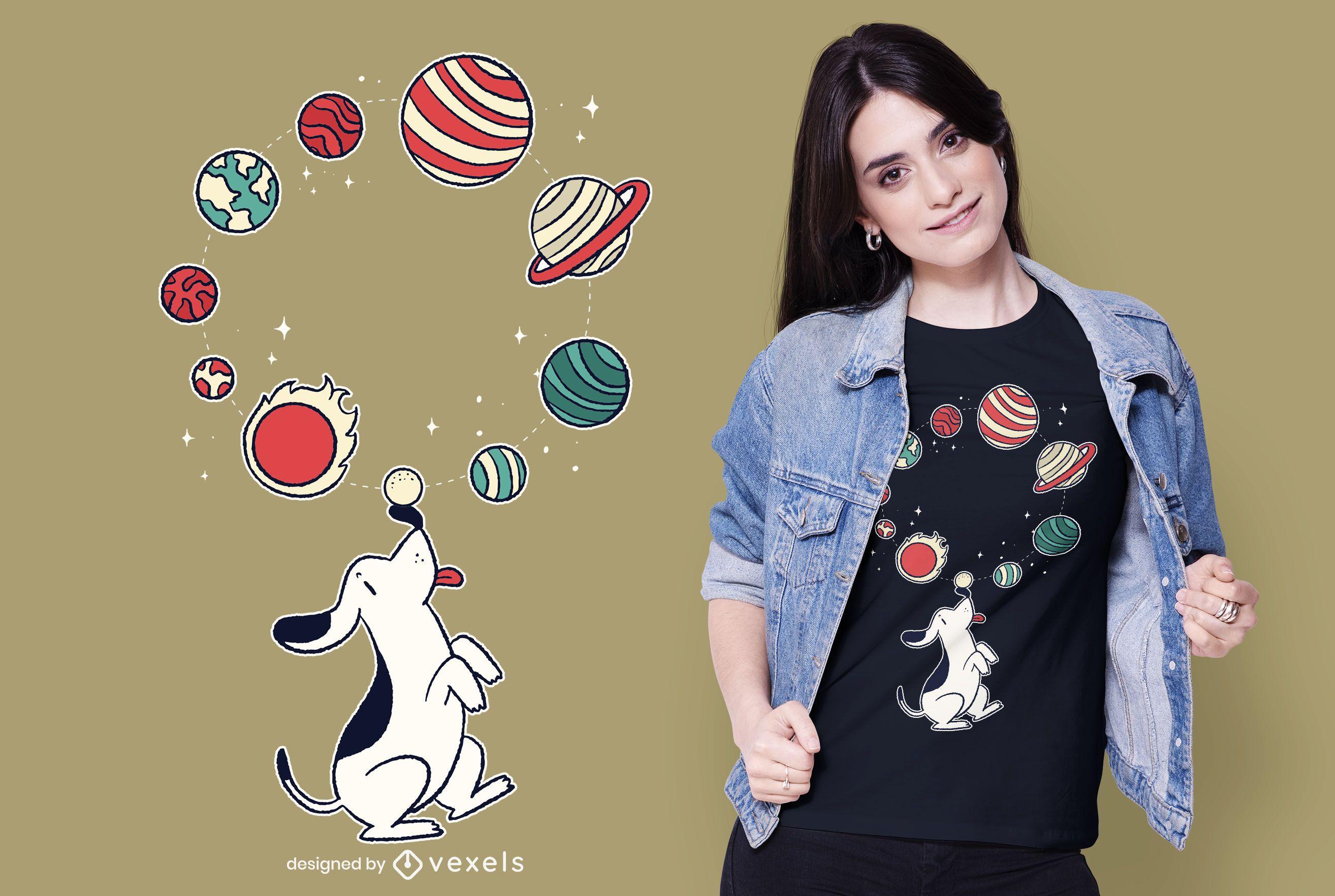 Planet Juggling Dog T-shirt Design