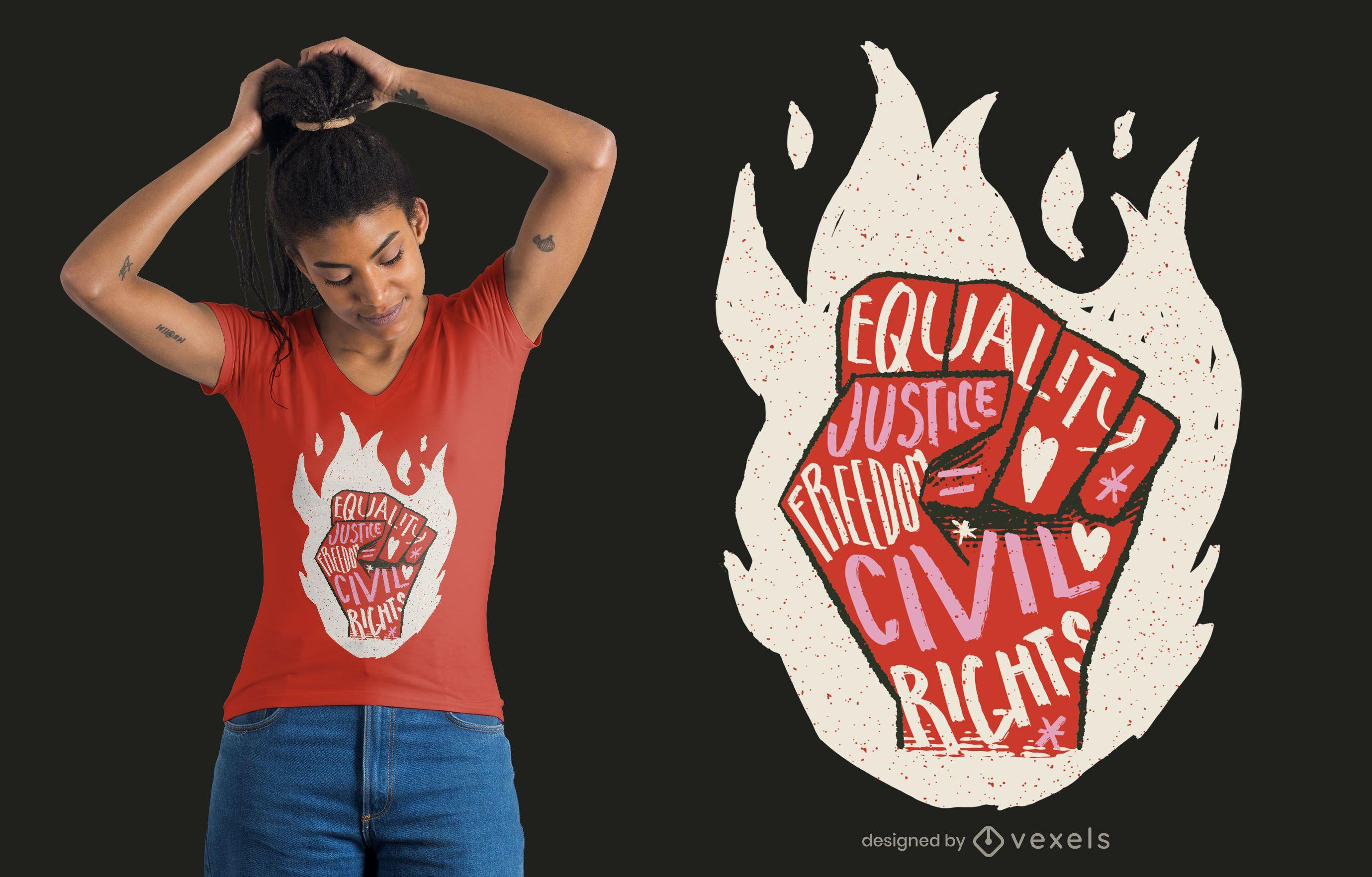 Design de camisetas com citações dos direitos civis
