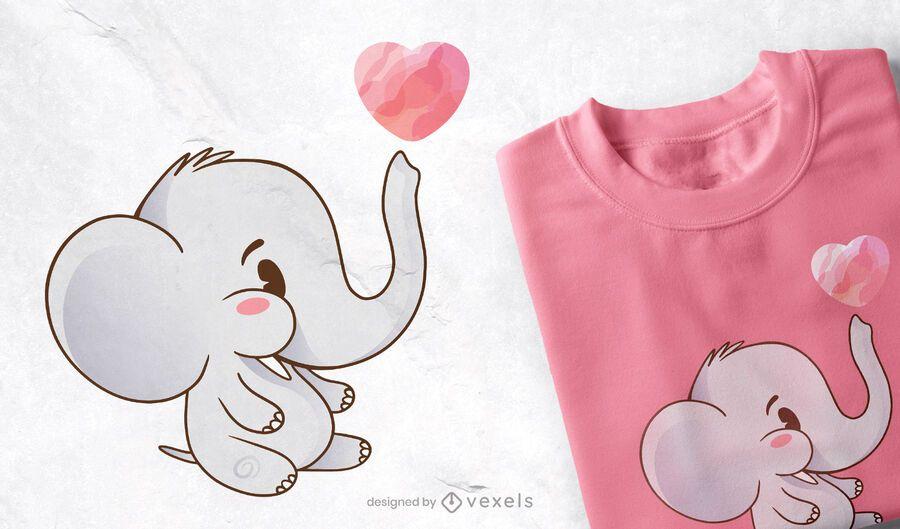 Design bonito do t-shirt do elefante do bebê