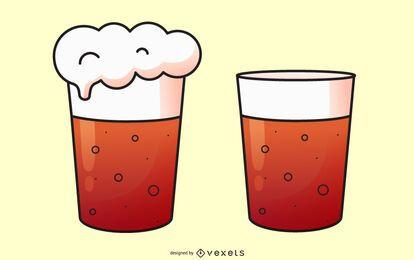 Conjunto de ilustración de vaso de cerveza