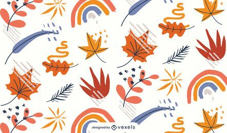 leaves rainbows pattern design