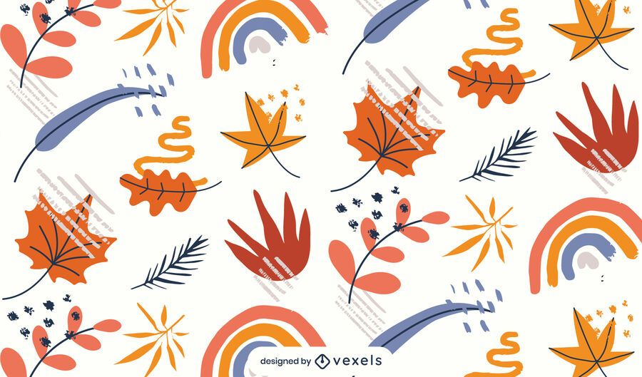leaves rainbows pattern design