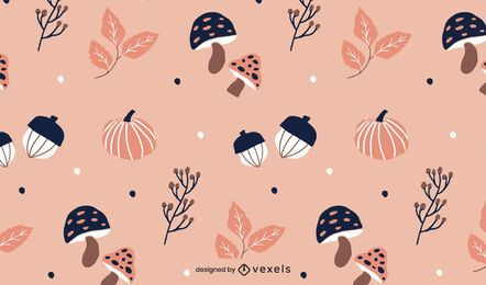 mushrooms pumpinks pattern design