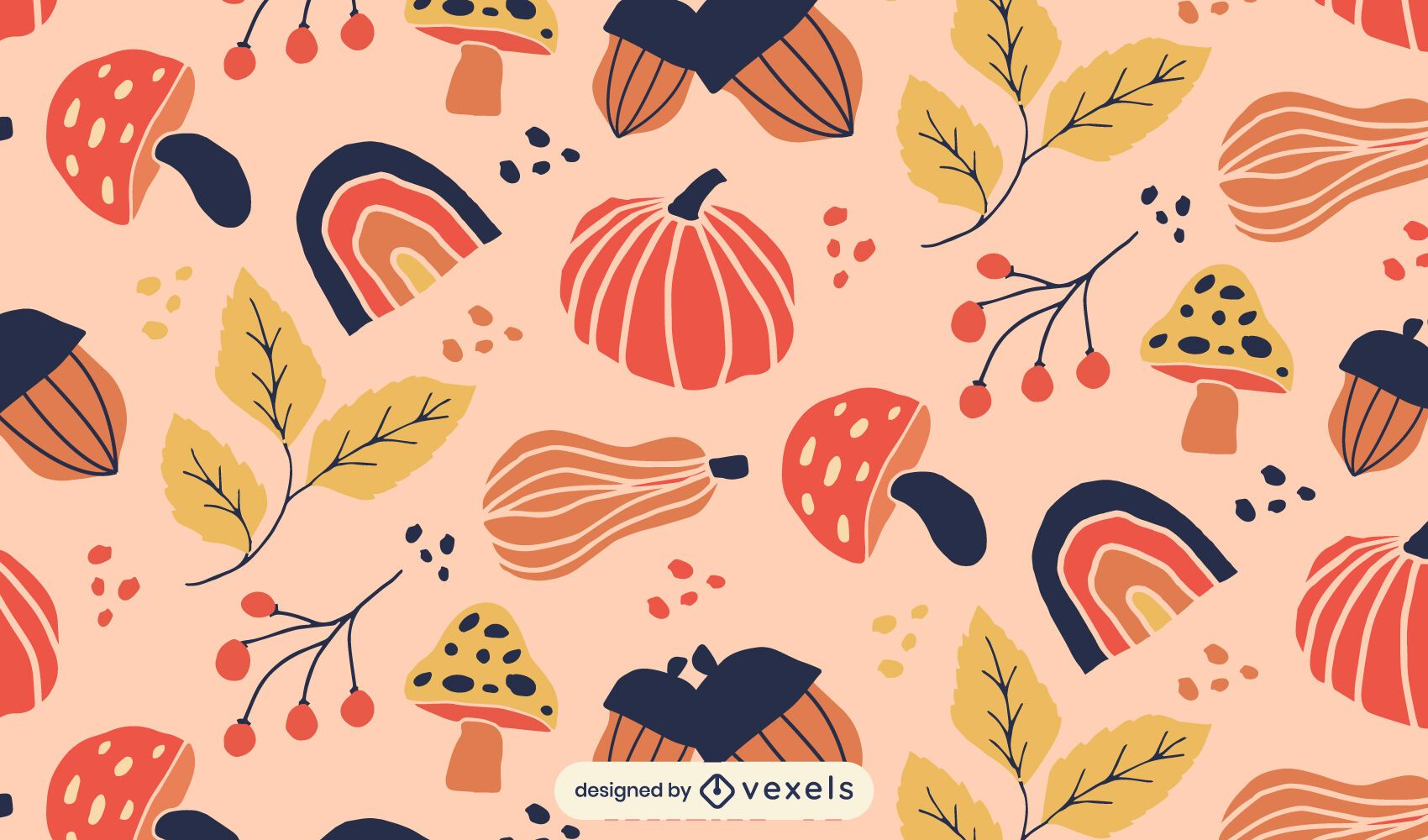 pumpinks leaves fall pattern design