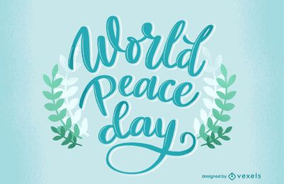 World peace day lettering design