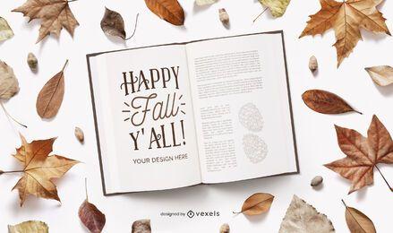 maqueta de libro abierto de otoño
