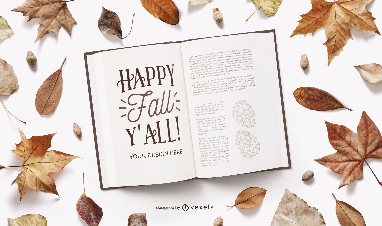 autumn open book mockup