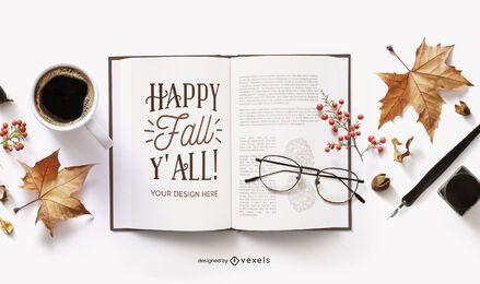 composición de maqueta de libro abierto de otoño