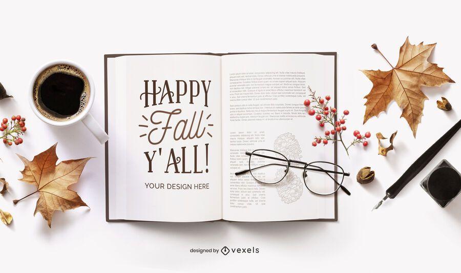 composição de maquete de livro aberto de outono