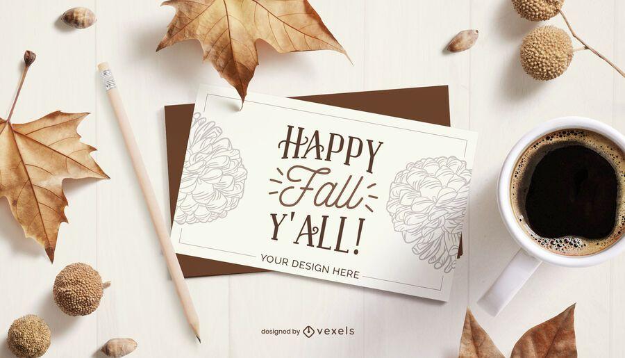 autumn card mockup composition