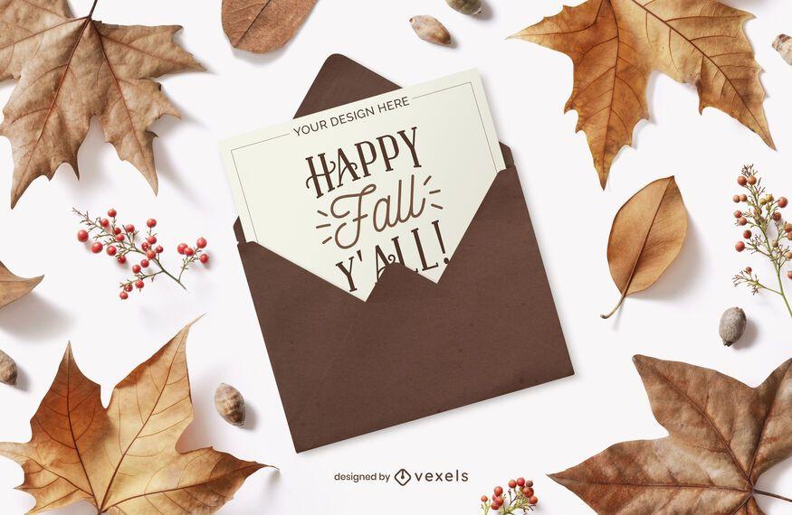 autumn card envelope mockup