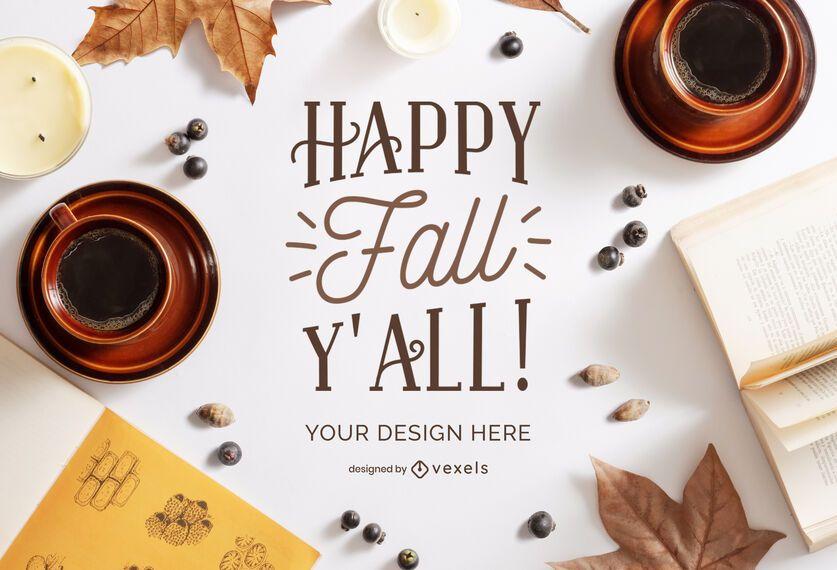 composição da maquete de café de outono