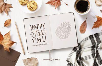 maqueta de cuaderno abierto de otoño