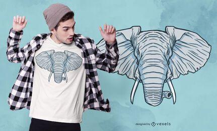 Diseño de camiseta de cabeza de elefante